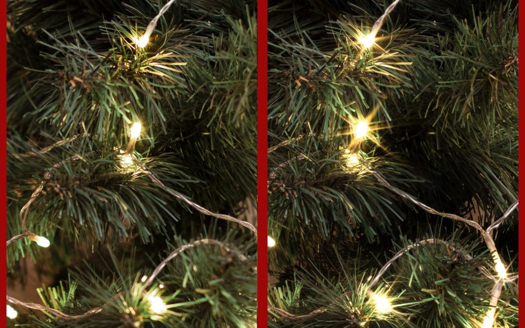 Kalėdinių lempučių fotografavimas